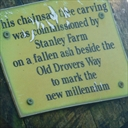 Sign on the Shepherd tree carving